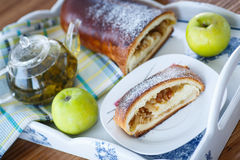 Sweet strudel with apples Stock Photography