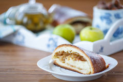 Sweet strudel with apples Royalty Free Stock Photography