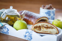 Sweet strudel with apples Royalty Free Stock Photo