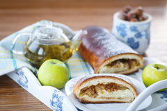 Sweet strudel with apples Royalty Free Stock Images