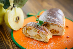Sweet strudel stuffed with quince Stock Photography