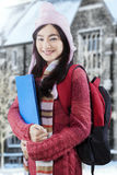 Sweet student wearing sweater and carry bag Royalty Free Stock Photography