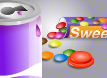 Sweet Stuff. Detail of canned soda drink and candy in a tube Royalty Free Stock Images
