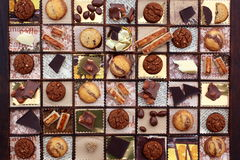 Sweet stuff. Collage with chocolate and cookies in a letter case, created by myself Royalty Free Stock Photos