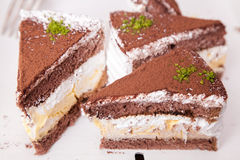 Sweet-stuff dessert with cacao powder. Confection on dessert with cacao powder Stock Photo