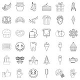 Sweet stuff icons set, outline style Stock Images