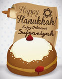Sweet Sufganiyah with Traditional Scroll Celebrating Hanukkah, Vector Illustration Stock Photography
