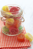 Candies. Sweet sugar candies on white wooden background Stock Photo