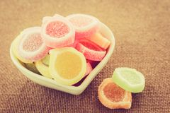 Sweet sugar candies on  wooden. Background Royalty Free Stock Images