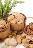 Sweet sugar cookies in wooden containers Stock Image