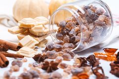 Sweet sugars. Different sweet sugar - brown, white and crystal and spieces - cinnamon and anise Royalty Free Stock Image