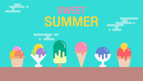 Sweet summer background. Colorful of ice cream icon design. Vect Stock Images