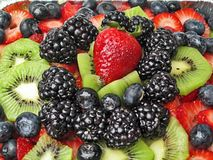 Sweet Summer Berries. Berries and Kiwi Topping Royalty Free Stock Photo