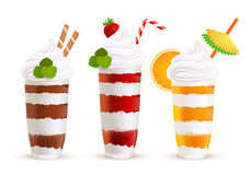 Sweet summer cocktails vector set Royalty Free Stock Photography