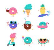 Sweet Summer - Cute Ice Cream, Watermelon And Donuts Characters Make Fun Royalty Free Stock Photos
