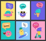 Sweet summer - cute ice cream, watermelon and donuts characters make fun. Pool, sea and beach summer activities concept vector illustrations Royalty Free Stock Photos
