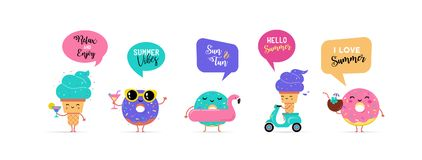 Sweet summer - cute ice cream, watermelon and donuts characters make fun. Pool, sea and beach summer activities concept vector illustrations Royalty Free Stock Images