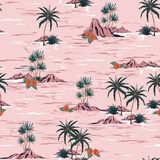 Sweet summer mood seamless island pattern Landscape with palm t stock illustration