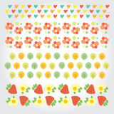 Sweet summer pattern with green trees, red Royalty Free Stock Photo