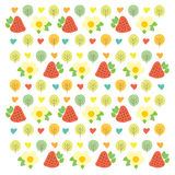 Sweet summer pattern with green trees, red Stock Photos