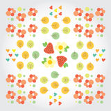Sweet summer pattern with green trees, red Royalty Free Stock Photos