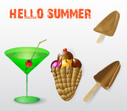 Sweet summer refreshment. Summer drink with ice cream and ice lollies Stock Photography