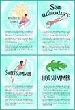 Sweet Summer Sea Adventure Poster with Text Set stock illustration