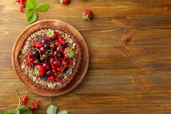 Sweet summer tart with berries Royalty Free Stock Image