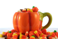 Sweet, sweet candy corn. A coffee cup of candy corn for Halloween Stock Images
