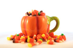 Sweet, sweet candy corn. A coffee cup of candy corn for Halloween Royalty Free Stock Image