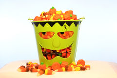Sweet, sweet candy corn. A bucket of candy corn for Halloween Royalty Free Stock Image