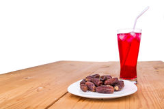 Sweet syrup, dates, simple iftar break fast food during Ramadan Royalty Free Stock Photography