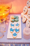 Sweet table with cookies and drink at a birthday party Royalty Free Stock Photo