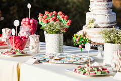 Sweet table decor. Wedding detail. Royalty Free Stock Photography