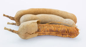 The Sweet tamarind for eating on white background. Sweet tamarind for eating on white background Stock Photography