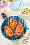 Sweet tangy barbecue chicken breast. Wit pasta salad Stock Photos