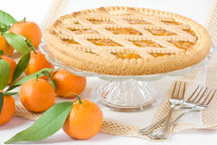 Sweet tart with fruits. Sweet tart with citrus marmelade on the table stock images