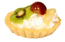 Sweet tart with kiwi, pineapple and grapes Stock Image