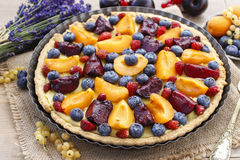 Sweet tart with peaches, plums and blueberries Royalty Free Stock Photos