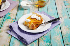 Sweet tart with pumpkin and cream. Food Royalty Free Stock Images