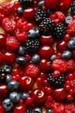 Sweet tart with raspberries, blueberries, blackberries, cherries Stock Photography