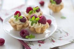 Sweet tartalette with fresh raspberries Royalty Free Stock Image