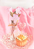 Sweet tartlet decorated gift-heart in pink Royalty Free Stock Image