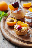 Sweet tarts with cherry and apricot Royalty Free Stock Photography