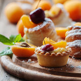 Sweet tarts with cherry and apricot Stock Photo