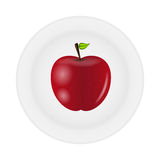 Sweet tasty apple on plate vector illustration. This is file of EPS10 format Stock Photos