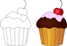 Sweet and tasty cake with cherry. Coloring book for kids about f Stock Photography