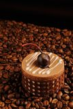 Sweet and tasty chocolate cake with cherry. Chocolate cake on coffee beans as a background Stock Image