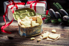 Sweet and tasty Christmas cookies with milk Royalty Free Stock Photo