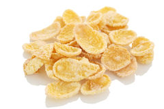Sweet, tasty cornflakes, crunchy dry on white background Stock Photo